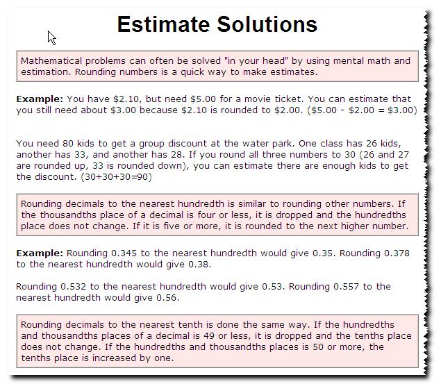 Estimate Solutions